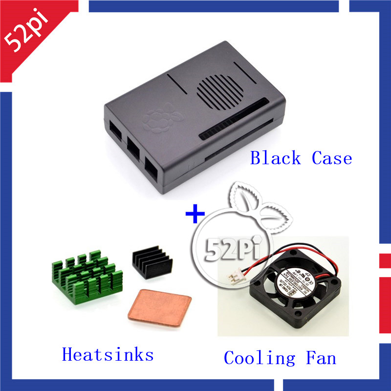 52Pi Black ABS Plastic Case Cover Enclosure Shell Box with Aluminum Heat Sinks and Cooler Fan for Raspberry Pi 3 / 2 Model B
