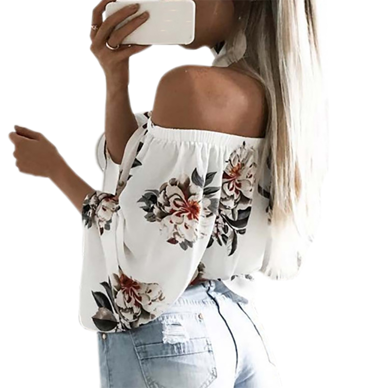 2018 Women Blouse Kawaii Floral Boho Blusa Feminina Shirt Casual Beach Off Shoulder Top Summer Flare Sexy Slash Neck White GV689