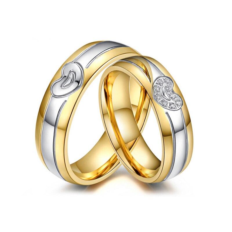 Сердце Обручальные кольца для Для женщин/Для мужчин золото-цвет Нержавеющаясталь Кольца Любовника обещание ювелирные изделия подарок