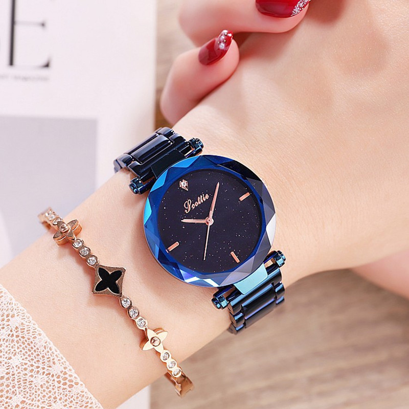 2018 Fashion Starry Dial Lady Watches Women Rhinestone Casual Dress Quartz Watch Female Stainless Steel Watch Clock reloj mujer nary watch women fashion luxury watch reloj mujer stainless steel quality diamond ladies quartz watch women rhinestone watches