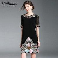 Willstage маленькое черное платье с коротким рукавом сетки цветочные Embrioidery мини платья для женщин пикантные элегантные Винтаж Vestidos лето 2019 г.