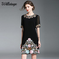 Willstage Little black Dress Short Sleve Mesh Floral Embrioidery Mini Dresses Women Sexy Elegant vintage Vestidos 2019 Summer