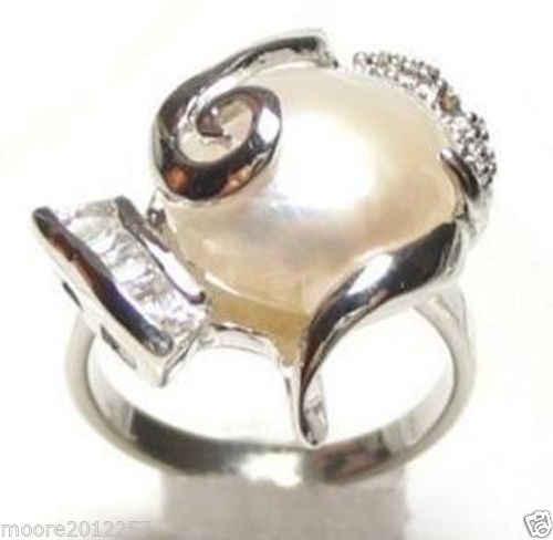 ร้อนขายรูปแบบใหม่>>>>น้ำจืดแท้สีขาวมุกแหวนเงินขนาด: 7-8 #