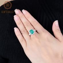 GEM'S BALLET натуральный зеленый агат, натуральный камень, кольца, 925 пробы, серебряные классические обручальные кольца, изысканные модные ювелирные изделия из камня для женщин