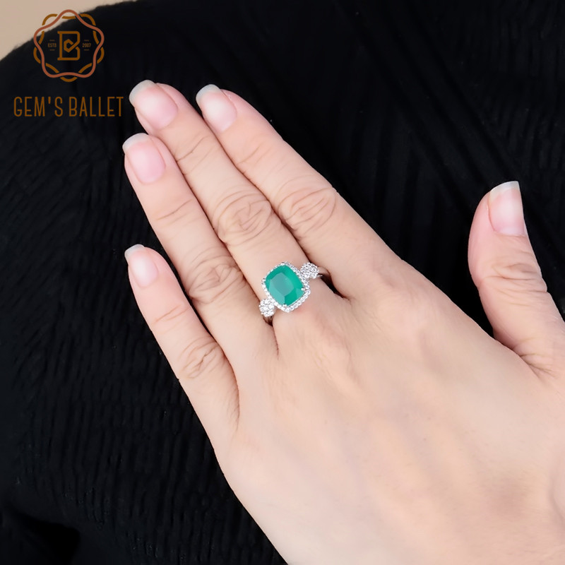 GEM'S BALLET Natural Green Agate Gemstone Rings 925 Sterling Silver Classic Wedding Rings Fine Fashion Stone Jewelry For Women