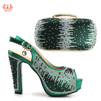 New Green Color Women Shoes and Bags To Match Set Italy Nigerian Shoes and Matching Bags Set with Rhinestone For Wedding Party