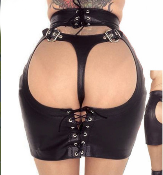 Sexy New Womens Sexy Black Stripper Open Butt Faux Leather