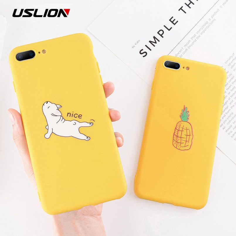 Uslion Hoạt Hình Ngộ Nghĩnh Bơ Ốp Lưng Điện Thoại Iphone 11 Pro Max 7 8 6 6 S Plus TPU Ốp Lưng Silicon cho Iphone X XR XS Max Mềm Mại Trường Hợp