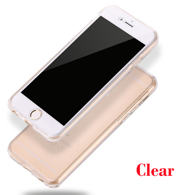 Transparent Double Silicone Case For iPhone 11 Pro X XS Max XR 360 Full Cover for iPhone7 7Plus 8 6 6s Plus 5 5s 5SE Case Capa