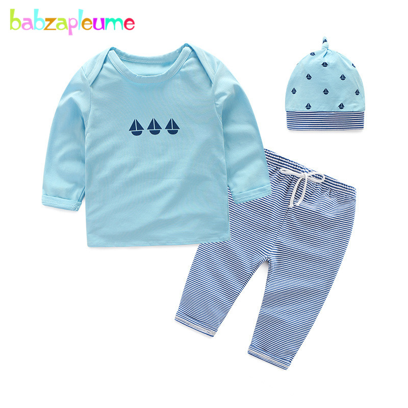 babzapleume 3PCS/3-18Months/spring autumn newborn baby outfit boys girls clothes t-shirt+pants+hats infant clothing sets BC1507