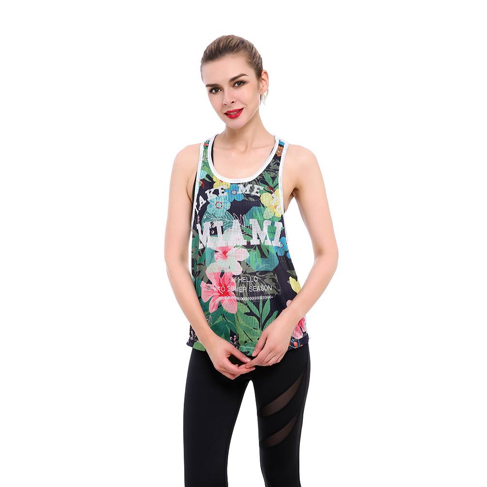 MIAMI Letters Print Mesh Top Womens Tropical Workout Vest Fishnet Tank Tops for Women T8807