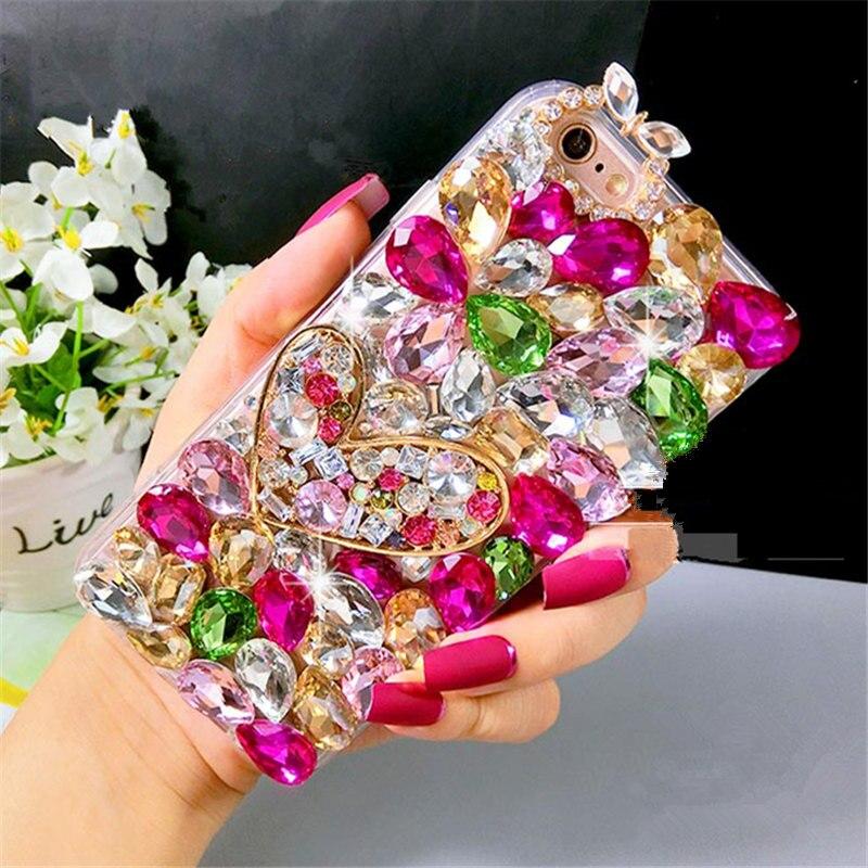 Fancy Heart diamond crystal stone lens phone case For Samsung galaxy j2 j4 j5 j6 j7 J8 a5 a6 a7 a8 2017 2018 prime plus pro|  - title=