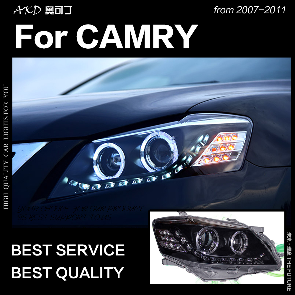 AKD Car Styling for Toyota <font><b>Camry</b></font> <font><b>Headlights</b></font> 2007-2011 <font><b>Camry</b></font> V45 LED <font><b>Headlight</b></font> LED DRL Hid Bi Xenon Head Lamp Auto Accessories image