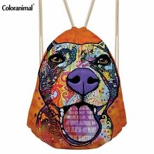 Luggage Bags - Drawstring Bags - Coloranimal Women Drawstring Bags Cute Art 3D Dog Animal Cat Cinch Sack Men String Backpack Children Girls School Bags Rucksack