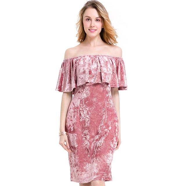 82ce972b1d9 Sexy Women Pink Velvet Dress Off Shoulder Slash Neck Knee Length Party Club  Wear Slim Bodycon Dress Plus Size Lady vestidos 8823