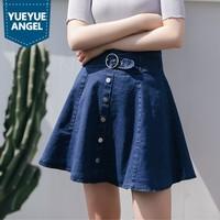 Faldas Mujer Moda 2019 Fashion Casual High Waist A Line Pleated Denim Skirts Streetwear Preppy Style Vintage Short Jupe Femme