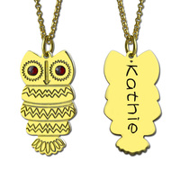 Wholesale Engraved Name Owl Necklace Personalized Owl Necklace Gold Color Birthstone Owl Necklace Design Your Owl Jewelry