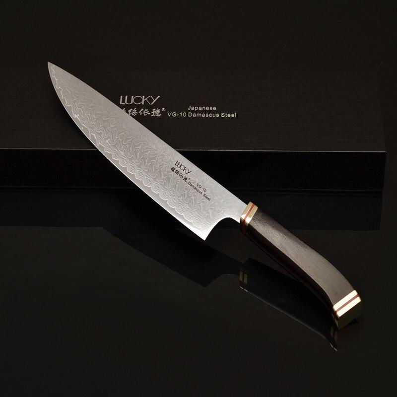 Kuchyňský nůž Gyuto Japonský VG10 Damašek Ocel Dřevo Rukojeť Rybí Maso Kuřecí Sekačka Sekací Krájecí nože 46.1