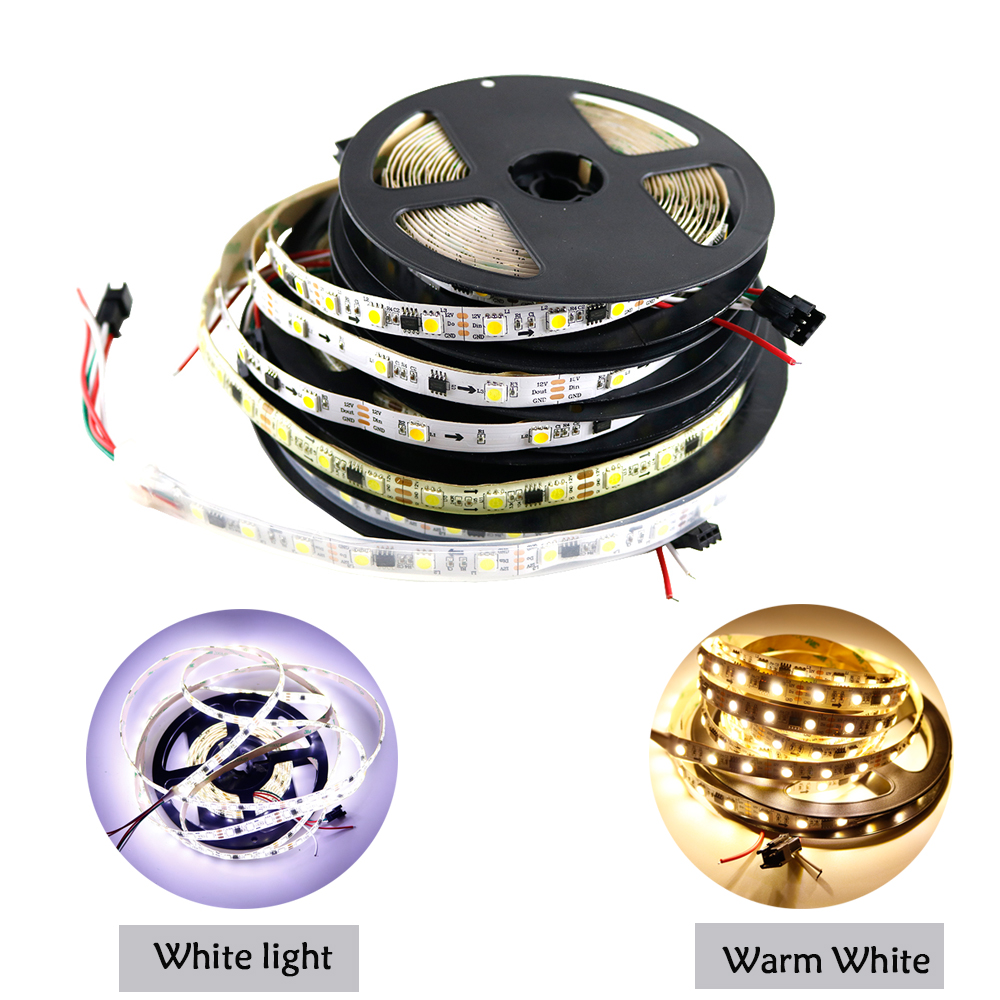 LED Strip WS2811 White Warm Flexible addressable 30/60leds/m pixels SMD5050 lights tape external ic,1 ic control 3 leds DC12V ic
