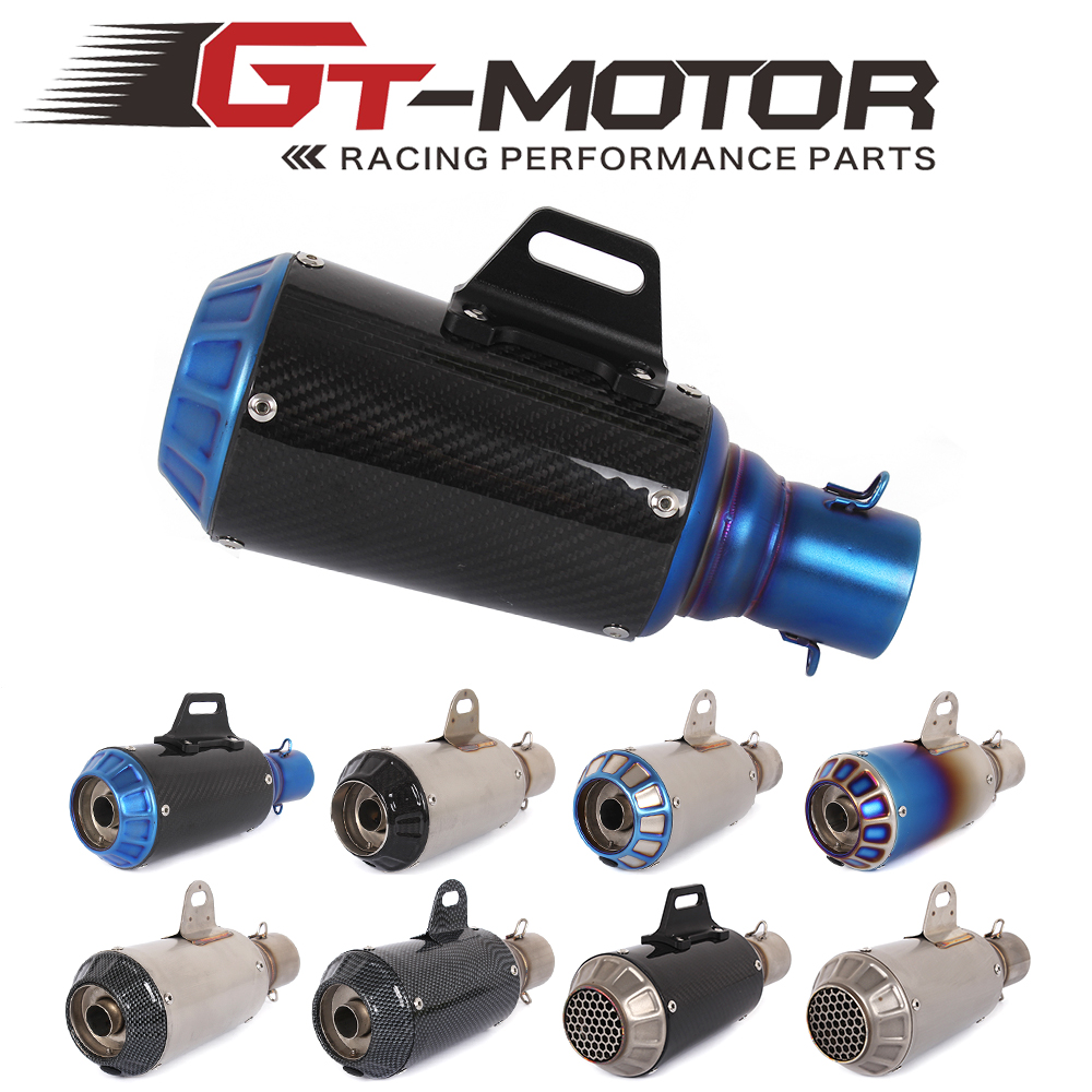 GT Motor- Universal Motorcycle Exhaust Pipe stainless steel Muffler Inlet 51mm Escape Exhaust Mufflers Carbon Fiber Exhaust Pipe