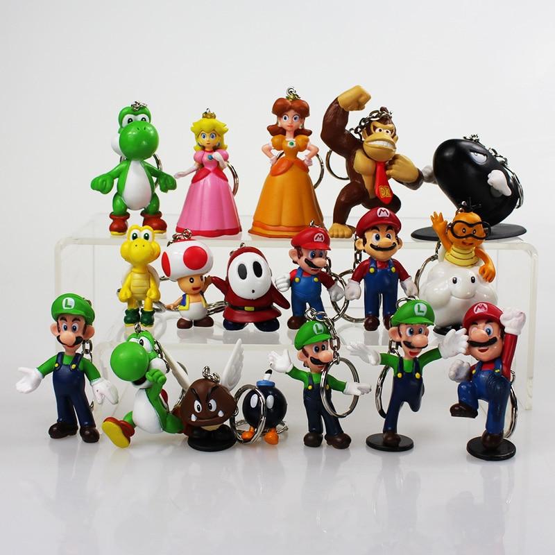 18pcs/lot Super Mario Bros Keychain Mario Luigi Mushroom Toad Princess Keychain Figure Toys Dolls