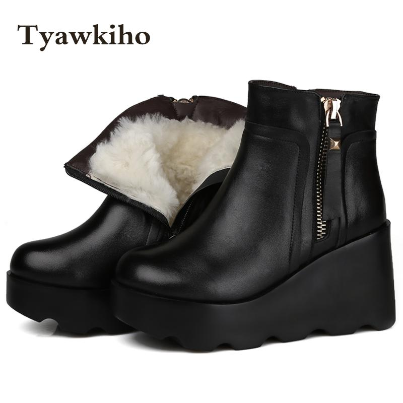 Tyawkiho Winter Women Snow Boots Black Genuine Leather Ankle Boots Sheep Fur 9 CM Wedge Heel Warm Shoes Women Motorcycle Boot 2017 cow suede genuine leather female boots all season winter short plush to keep warm ankle boot solid snow boot bota feminina