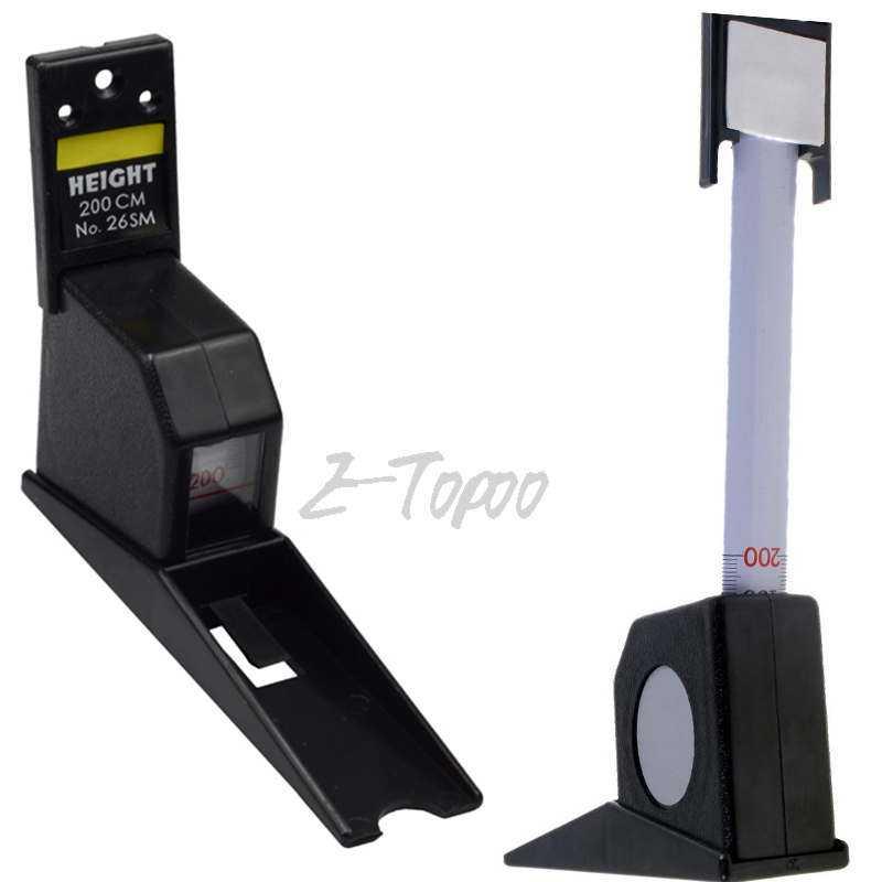 Wall Mount Height Measure Mounted Scale 200cm Black Color Rod Meter