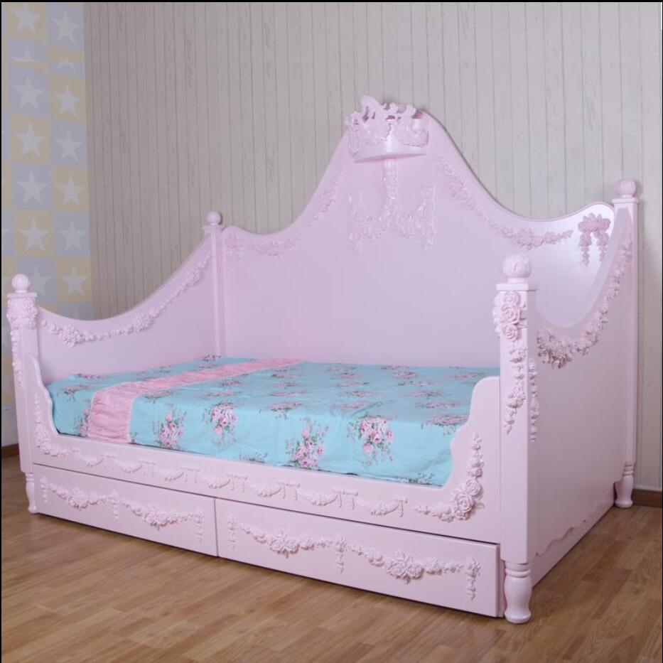 European - style Mediterranean style carved girl bed wood solid wood furniture children 's custom bed children princess bed эркер magnolia custom furniture