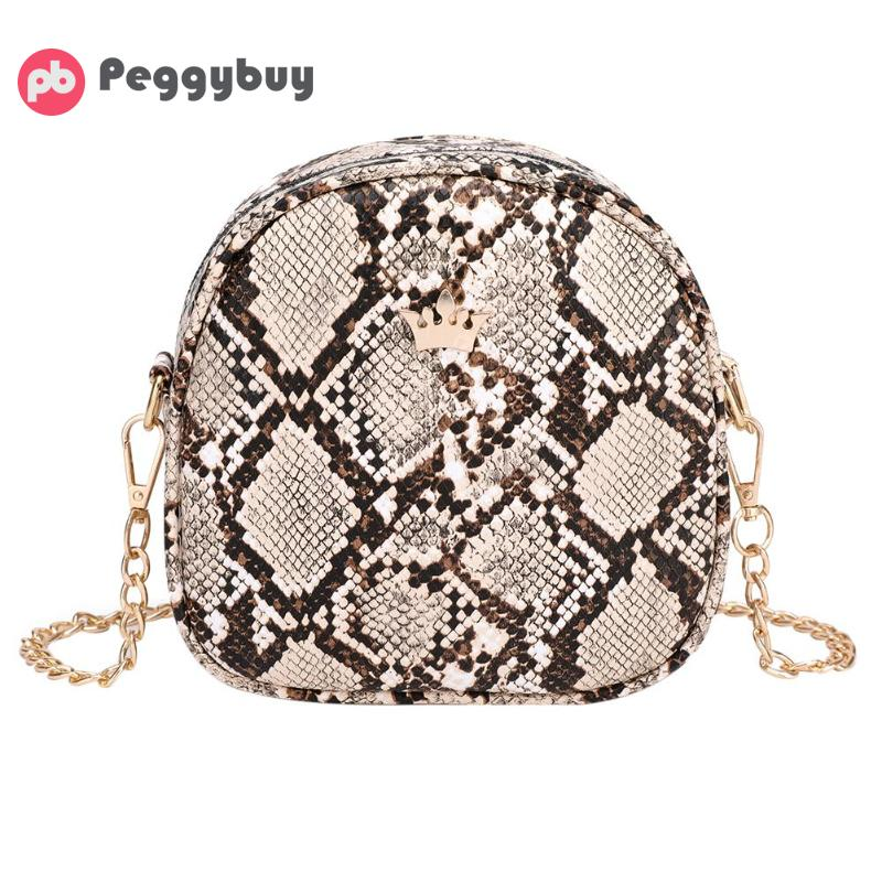 Snake Print Chain Shell Shoulder Handbags Women Crown Leather Crossbody Bag Female Serpentine Messenger Bag Bolsas femenina New in Top Handle Bags from Luggage Bags