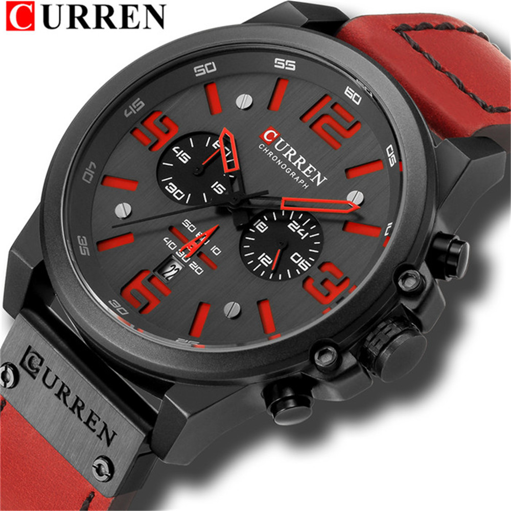 CURREN New Luxury Quartz Men Watches Fashion chronograph Waterproof Wristwatches Leather Military Date Display Clock Red