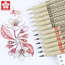 Sakura Pigma Micron Fine Line Pen Set 3/4/9 Assorted Colors Professional Art Marker Manga Comic Pro Liner Brush Pen Drawing Kit