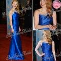 Jennifer Lopez Red Carpet Dress Sexy un hombro una línea de la longitud del piso celebridad del satén vestidos azules