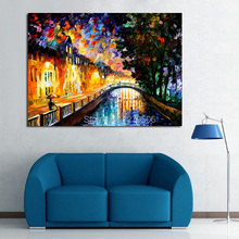 100%Handpainted Abstract Bridge River Home Knife Oil Painting On Canvas Thick Oil Painting For Home Decor As Best Gift