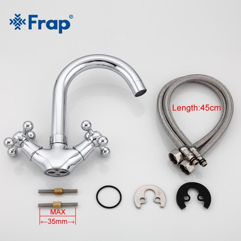 Image 5 - FRAP Silver Bathroom faucet Dual Handle Vessel Sink Mixer Tap Hot and cold separation switch F1319hot and coldsink mixer tapmixer tap -