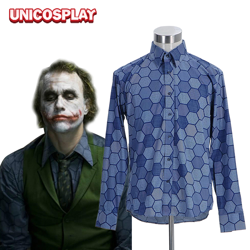 Batman Dark Knight Joker Shirt Cosplay Costumes Clown  Long Sleeve Blue Spring Shirts