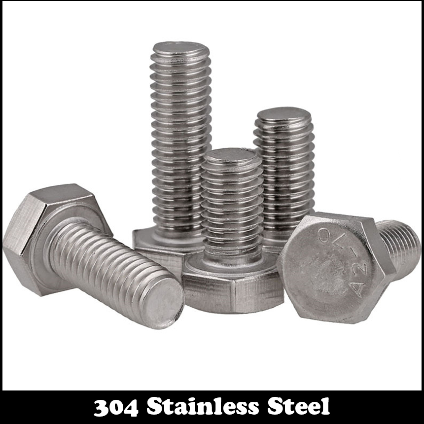 10pcs M8 18mm M8*18mm 304 Stainless Steel SS DIN933 Full Thread HEX Hexagon Head Screw 18 8 9cm