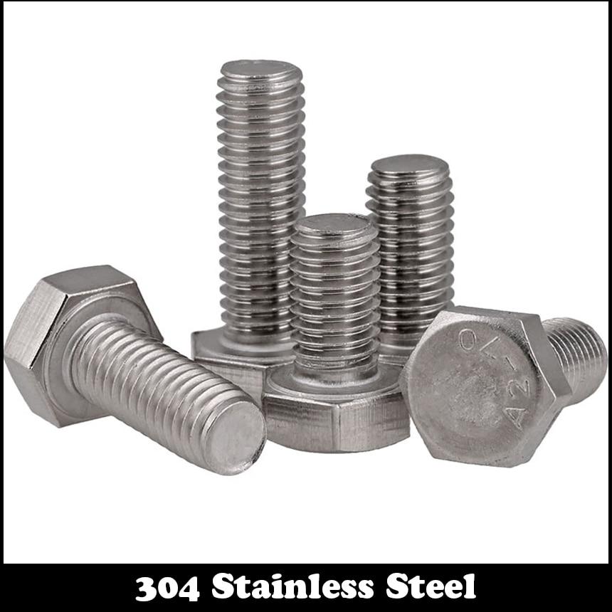 30pcs M3 14mm M3*14mm 304 Stainless Steel SS DIN933 Full Thread HEX Hexagon Head Screw 14 c280 30[