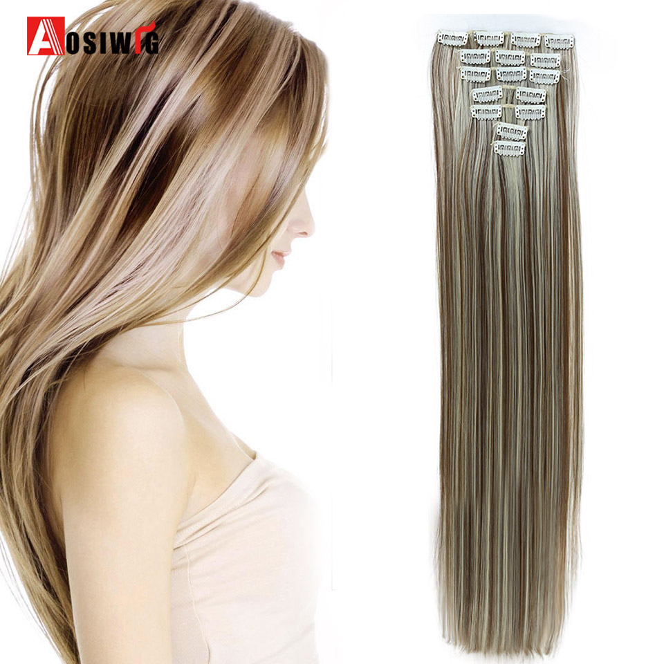 AOSIWIG 24 Long Straight Hair Extension 7pcs/set 16 Clips In On Hair Extensions Synthetic Heat Resistant Hairpiece