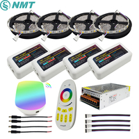 RGBW 12V LED Strip 5050 Waterproof IP20/IP65 Flexible led Light Tape+ Mi Light RF Touch Remote+WiFi Box+4pcs 4 Zone Controller