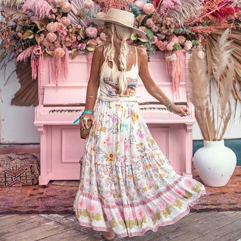 Boho Inspired Wild Floral Printed Maxi Skirt Tiered Ruffle Trim Skirts Women Elastic Waist Boho Skirt Gypsy Girl Long Skirt 2019