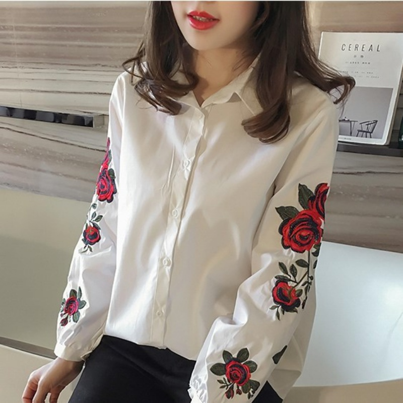 Womens Summer Floral Embroidered Spring Long Sleeve Blouse Shirt Striped Casual Shirt Tops