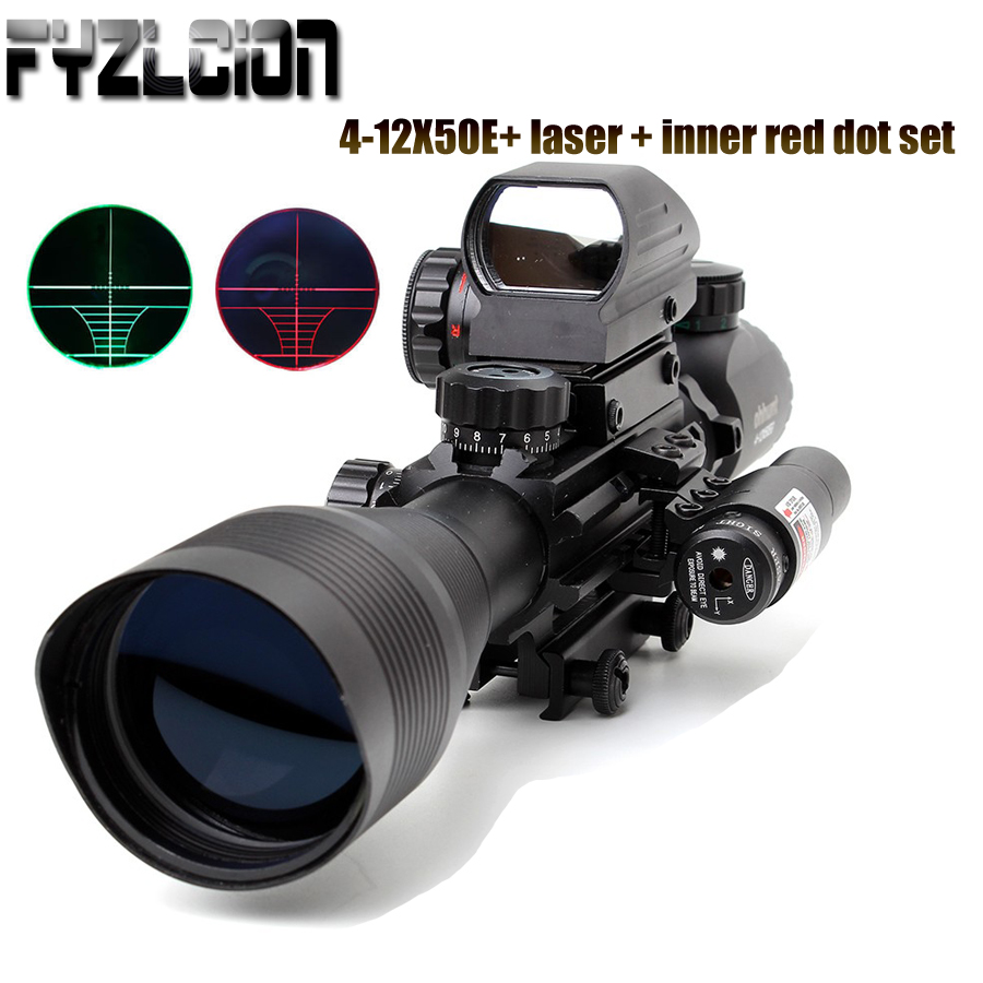 Fyzlcion 4-12X50 Hunting Combo Riflescope Optics Sights Red Green Laser and Red Dot Sight with Picatinny Rail Mount Rifle Scope