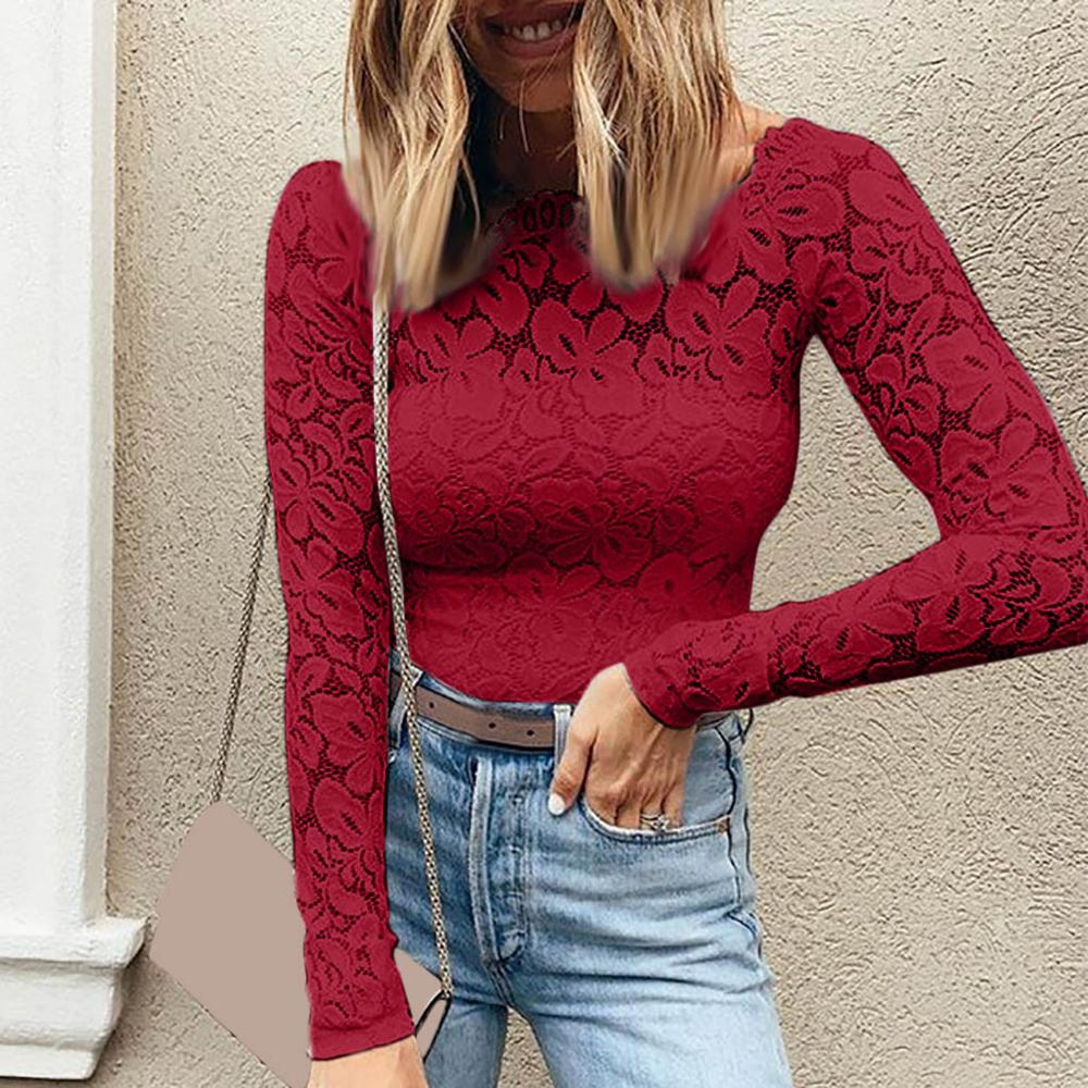 Women Autumn Wear New one-word Lace Sexy Long-Sleeved