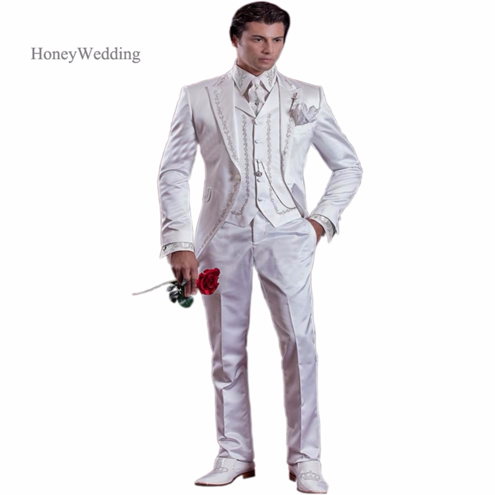 2016 New Arrival White Ivory Embroidery Groom Tuxedos Groomsmen Men S Wedding Prom Suits Custom Made