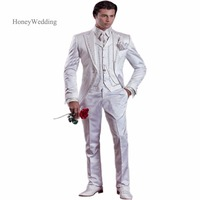 2018 New Arrival White Ivory Embroidery Groom Tuxedos Groomsmen Men's Wedding Prom Suits Custom Made (Jacket+Pants+Vest)
