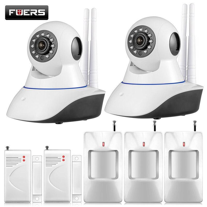 imágenes para 720 P HD IP WiFi CCTV IP de La Cámara HD 1MP CMOS de cámaras de seguridad sistema de alarma Para wifi y GSM sms sistema de alarma Android APP control