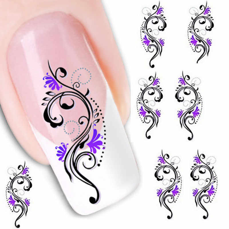 1PCS Water Transfer Slide Decal Sticker Nail Art Tips Toe Decoration XF1423 2019 New Women Lady Manicure Tool 5.2CMX6.3CM