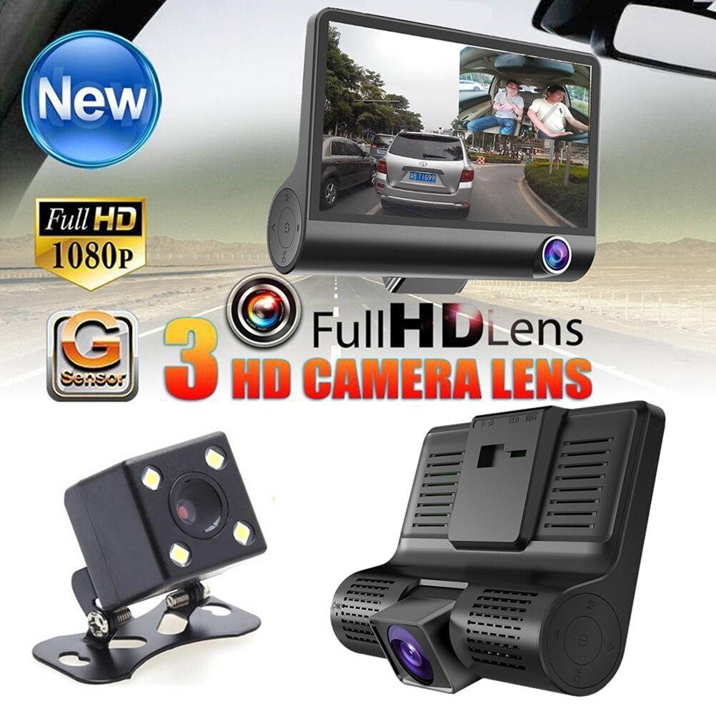 4 Inch 3 Lens HD 1080P Vehicle Car DVR Dash Cam Three way Video Recorder Rearview