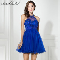 Sexy Youthful Royal Blue Cocktail Dresses With Line A Halter Zipper Back Sleeveless Short Mini Party Gowns Tulle Beaded CC309