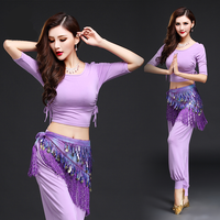 Belly Dancing Clothes Belly Dance Costumes Top Pants Belt Bellydance Set for Women Adult Oriental Yoga Bollywood Practice